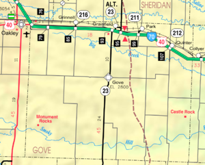 Map of Gove Co, Ks, USA