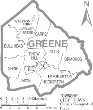 Map of Greene County North Carolina With Municipal and Township Labels