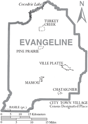 Map of Evangeline Parish Louisiana With Municipal Labels