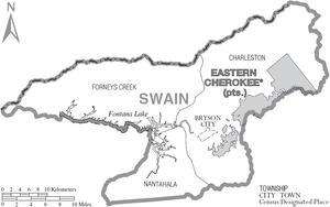 Map of Swain County North Carolina With Municipal and Township Labels