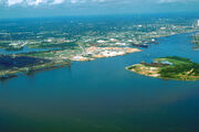 Mobile Alabama harbor aerial view