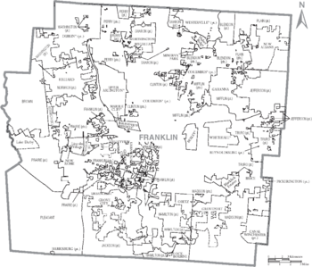 Map of Franklin County Ohio With Municipal and Township Labels