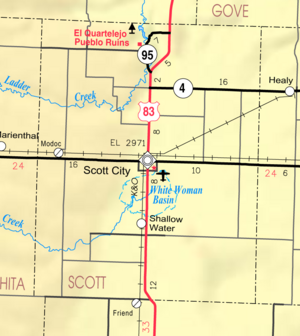 Map of Scott Co, Ks, USA