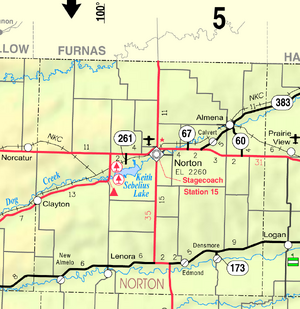 Map of Norton Co, Ks, USA