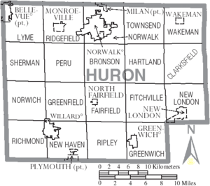 Map of Huron County Ohio With Municipal and Township Labels