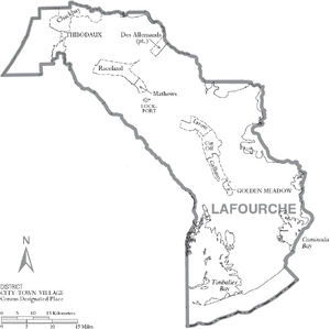 Map of Lafourche Parish Louisiana With Municipal Labels