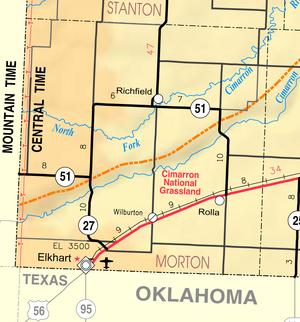 Map of Morton Co, Ks, USA