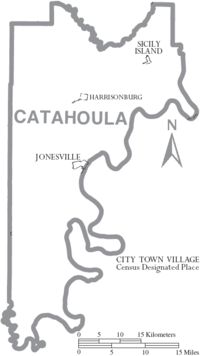 Map of Catahoula Parish Louisiana With Municipal Labels
