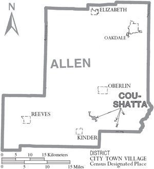 Map of Allen Parish Louisiana With Municipal Labels