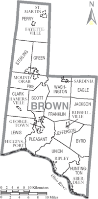 Map of Brown County Ohio With Municipal and Township Labels