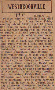 Phoebe Hubbard (1853-1910) obituary