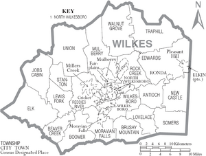 Map of Wilkes County North Carolina With Municipal and Township Labels