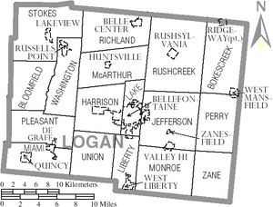 Map of Logan County Ohio With Municipal and Township Labels
