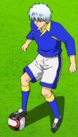 Gintoki in soccer outift during the match