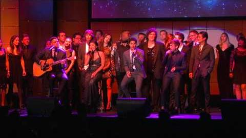 "The Glee Cast singing ""Smile"" at Trevor Live"