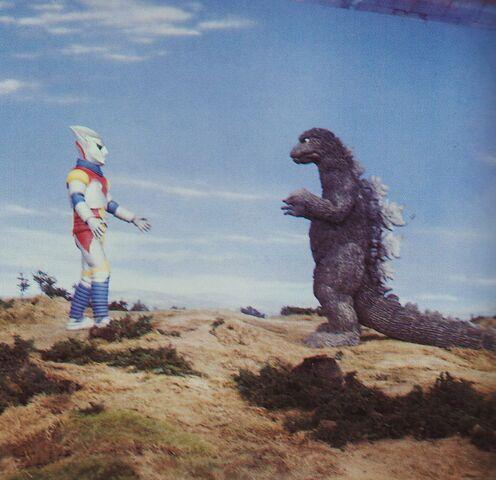 File:GVM - Godzilla and Jet Jaguar On Set.jpg