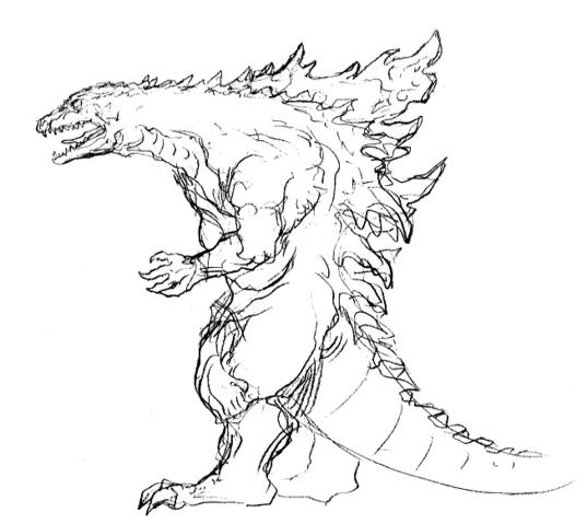 File:Concept Art - Godzilla 2000 Millennium - Godzilla 30.png