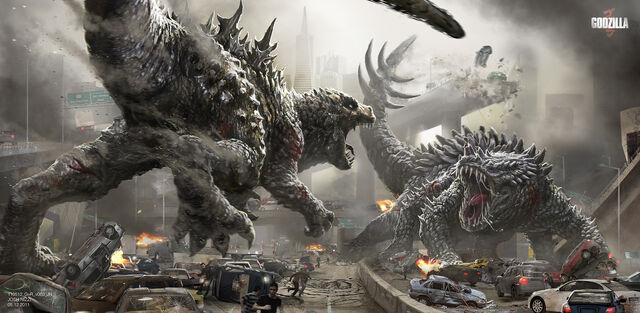 File:Concept Art - Godzilla 2014 - Josh Nizzi Godzilla vs Rokmutul.jpg