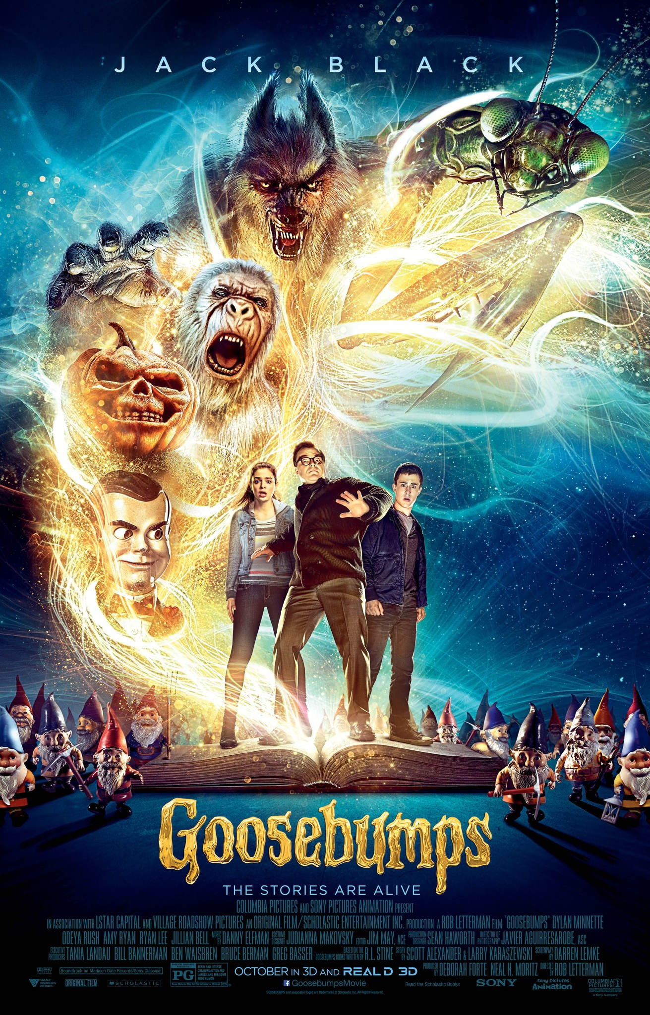 Three people stand in the center while scary creatures of all sorts surround them. Movie poster.