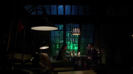 Edward Nygma and Kristin Kringle having dinner at Nygma's apartment