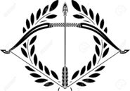 23022062-bow-and-laurel-wreath-stencil-illustration--Stock-Vector-archery-bow-arrow