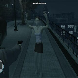 Teenaged girl in Rotterdam Hill, startled by Niko's gun being aimed at her.