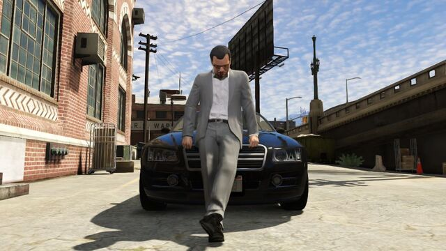 File:GTA V - Michael sat on car bonnet.jpg