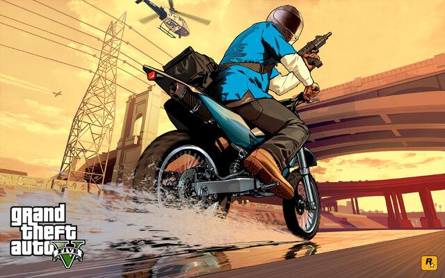 File:GTA V Franklin Bike Chase Artwork.jpg