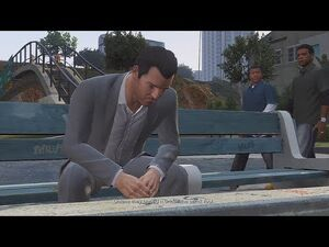 Franklin and Lamar-(GTA V)-Michael on a bench