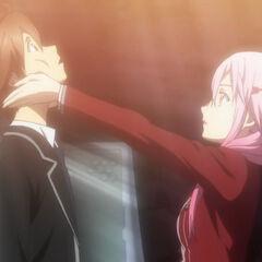 Inori tells Shu how to look someone in the eyes