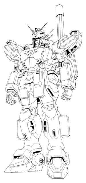 XXXG-01H Gundam Heavyarms Front View Lineart