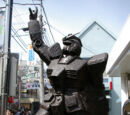 A bronze statue of Gundam