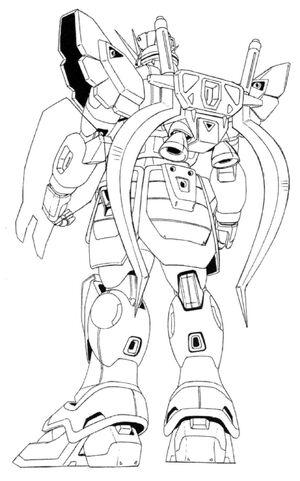 XXXG-01SR Gundam Sandrock Back View Lineart