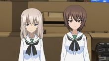 Erika and Maho in Ooarai uniform