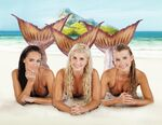 Mimmi, Sirena And Ondina Lying On Sand