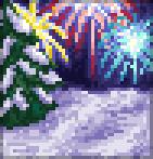 Background winter fireworks