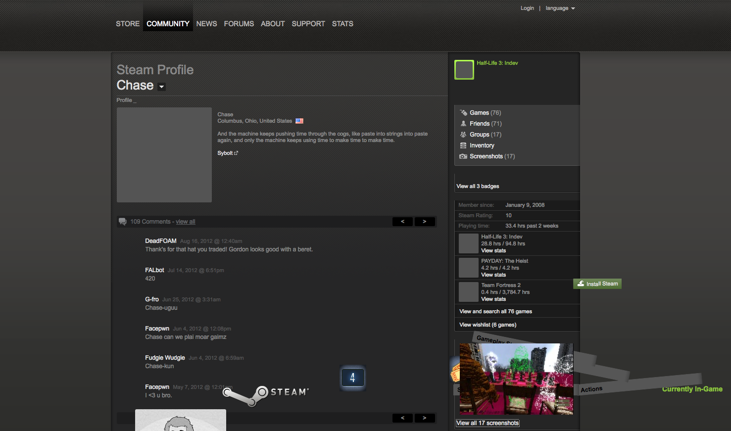 how to get a background on steam profile