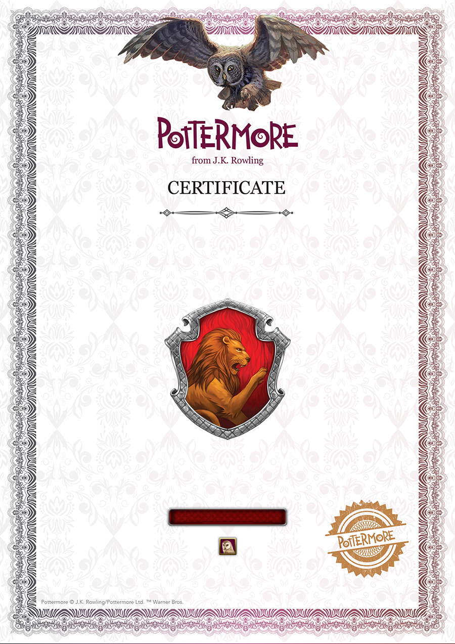 Image gryffindor certificate harry for Hogwarts certificate template