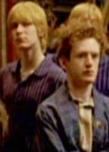 Fred Weasley and Percy Weasley in the Gryffindor's common room