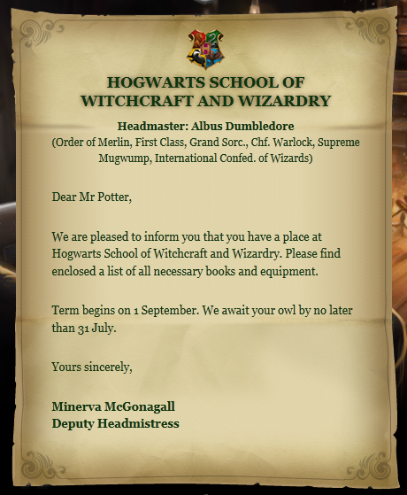 Hogwarts acceptance letter | Harry Potter Wiki | FANDOM powered by ...