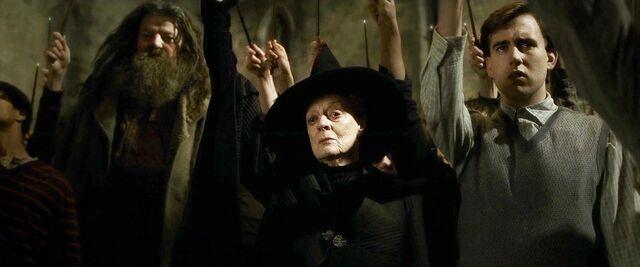 File:Hagrid,McGonagall, & Neville raise wands.jpg