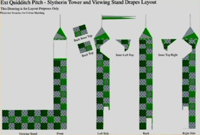 Image - Quidditch Pitch - Slytherin Tower and Viewing Stand Drapes ...