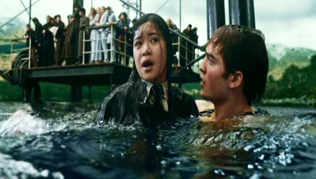 File:Cedric Diggory saving Cho Chang at Hogwarts Lake for the 2nd Task of the 1994 Triwizard Tournament.JPG