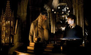 Dumbledore and Harry at the Headmaster's office HBP