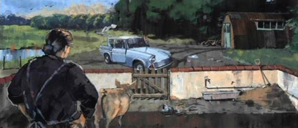 File:Ford Anglia, Mrs. Weasley outside the Burrow (Concept Artwork for HP2 movie 01).JPG