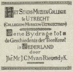 Eene Bydrage tot de Geschiedenis der Toonkunst in Nederland