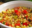 Cherry Tomato Salad with Fresh Basil, Corn and Onion