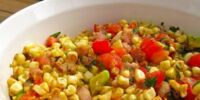 Cherry Tomato Salad with Fresh Basil, Corn and Onion