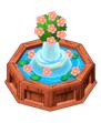 Fountainwithpinkflowers