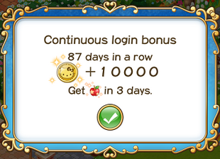 Login bonus day 87
